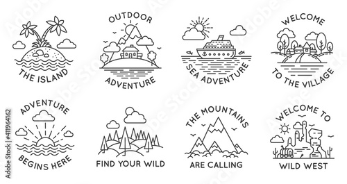Fotografie, Obraz Adventure line badges