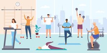 People In Gym. Man And Woman On Training Apparatus, Exercise Bike And Treadmill. Fitness Workout And Indoor Sport Room Flat Vector Concept. Male Characters With Barbells And Kettlebells