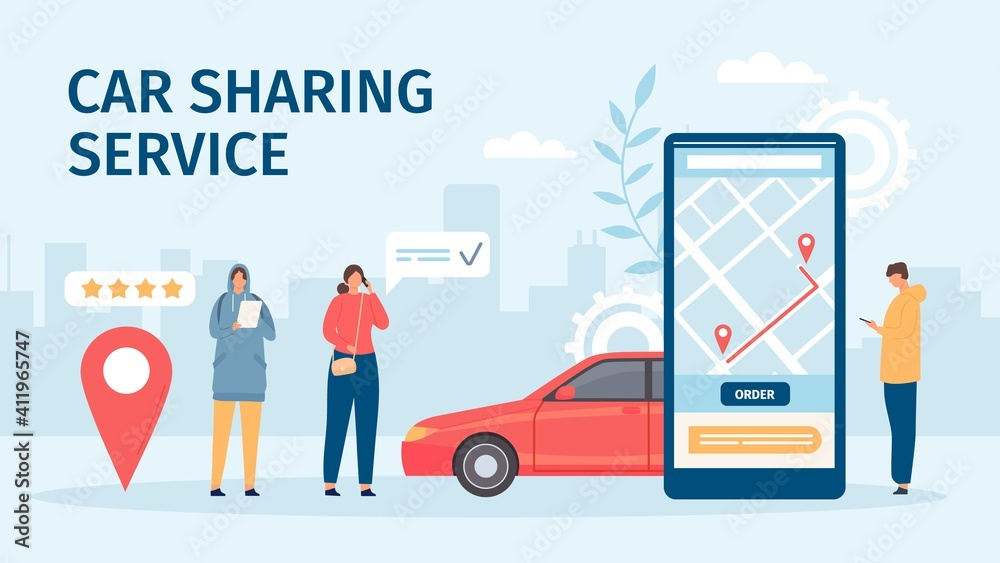 Fototapeta Car sharing service. Big smartphone screen with mobile app and people ordering cars for share or rent. Flat online carsharing vector concept. Booking or renting car for trip in application