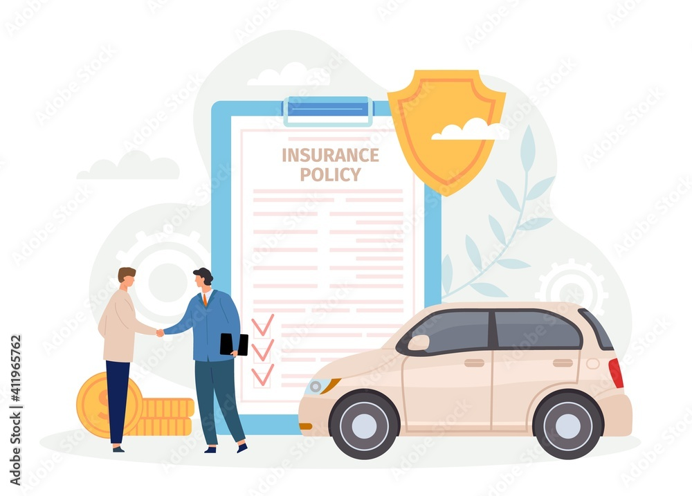 Fototapeta Car insurance policy. Man handshake with agent. Contract for safe and protect automobile from disaster or crash. Guarantee vector concept. Agreement for damaged vehicle service, deal