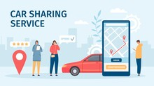 Car Sharing Service. Big Smartphone Screen With Mobile App And People Ordering Cars For Share Or Rent. Flat Online Carsharing Vector Concept. Booking Or Renting Car For Trip In Application