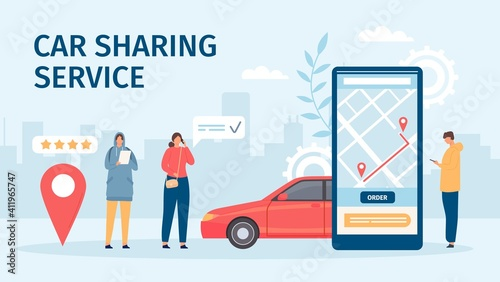 Fototapeta Car sharing service. Big smartphone screen with mobile app and people ordering cars for share or rent. Flat online carsharing vector concept. Booking or renting car for trip in application obraz
