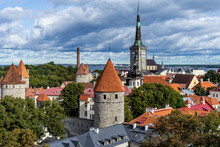 Scenic Beautiful Aerial Skyline Panorama Of The Old Town In Tallinn With Dramatic Clouds