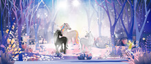 Fantasy Cute Little Fairies Flying And Playing With Unicorn Family In Magic Forest At Christmas Night, Vector Illustration Landscape Of Winter Wonderland.Fairytale Background For Bed Time Story Cover