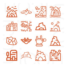 16 Pack Of Boulder  Lineal Web Icons Set