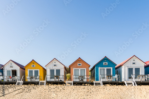 Colored beach houses in the Netherlands Fototapeta