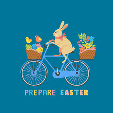Cute Easter Rabbit On Bicycle With Eggs In Basket