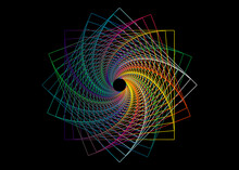 Spiral Swirl Line Drawing Colorful Mandala, Sacred Geometry, Logo Design Element. Geometric Mystic Spectrum Flower Of Alchemy Esoteric Symbol, Vector Illustration Isolated On Black Background