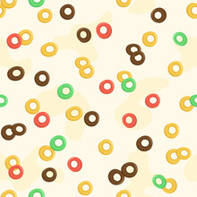 Cereal Milk Breakfast Seamless Pattern. Cartoon Oatmeal. Cute Background With Different Sweet Cornflakes. Fruits And Chocolate Colorful Cereal Loops. Vector Illustration