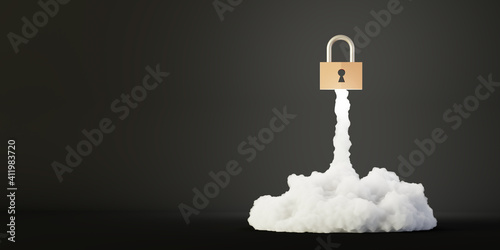 Padlock rocket, safety and self confidence concepts, 3d rendering © tostphoto