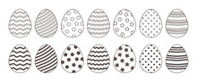 Easter Line Vector Eggs Icon, Black And White Outline And Flat Design. Doodle Holiday Illustration