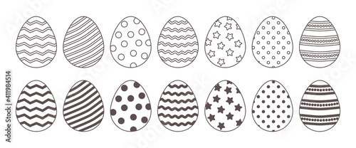 Fotografie, Obraz Easter line vector eggs icon, black and white outline and flat design
