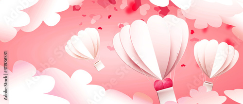 Foto Air balloons on the festive romantic Valentines Day background