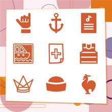Simple Set Of 9 Icons Related To Sail