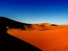 Orange Sand Dunes In The Sahara Desert, Morocco