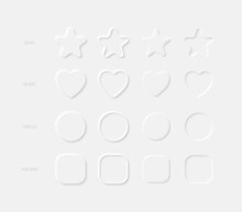 Light Neumorphic Vector Design Elements Rounded Star Heart Circle Square In Different Variations On Light Background. Neumorphism Buttons For Mobile Or Web Application