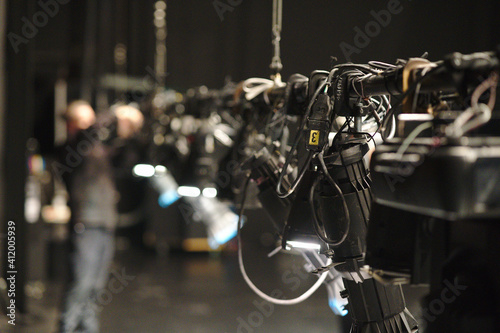 Fotografia, Obraz Theater Stage Lights On Pipe