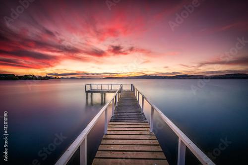 Obraz Taupo Sunset - New Zealand  - fototapety do salonu