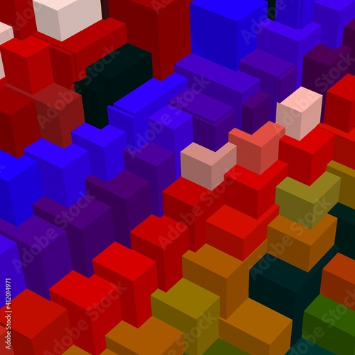 mosaic with multi-colored geometric shapes located randomly.