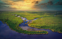 Aerial View Of Florida Everglades Golden Hour Sunset