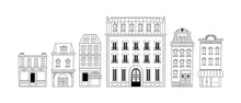 French City House Building Doodle Set Isolated