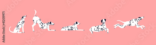 Canvas Print Dalmatian dog cartoon set cute pet isolated
