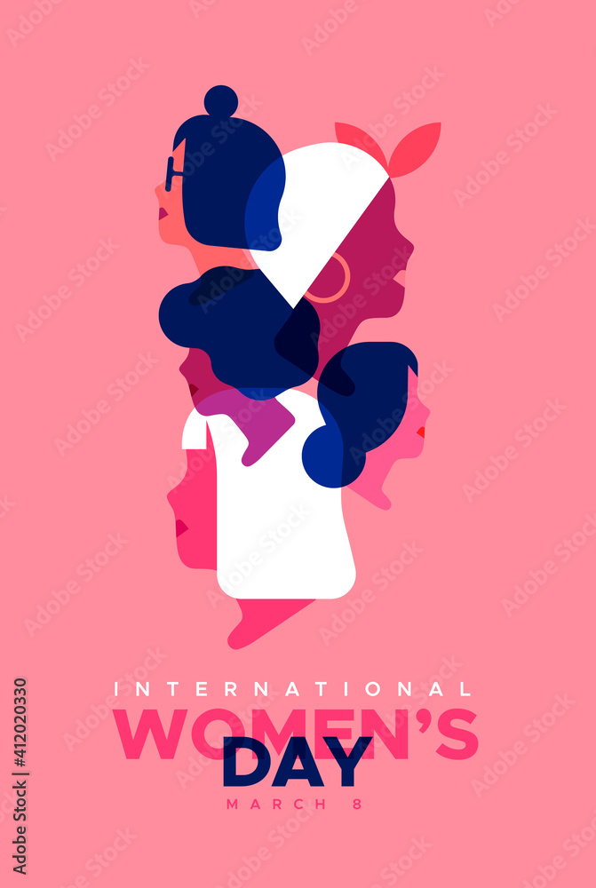 Fototapeta Women's Day pink diverse woman face card