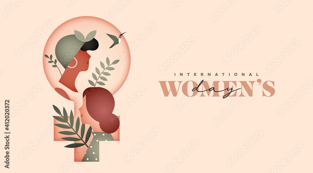 Fototapeta Women's day diverse women tropical leaf card