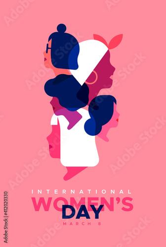 Fototapeta Women's Day pink diverse woman face card obraz