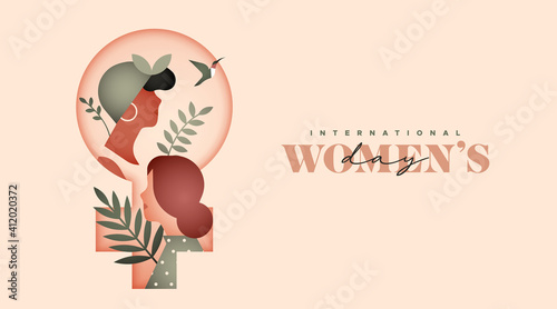 Fototapeta Women's day diverse women tropical leaf card obraz