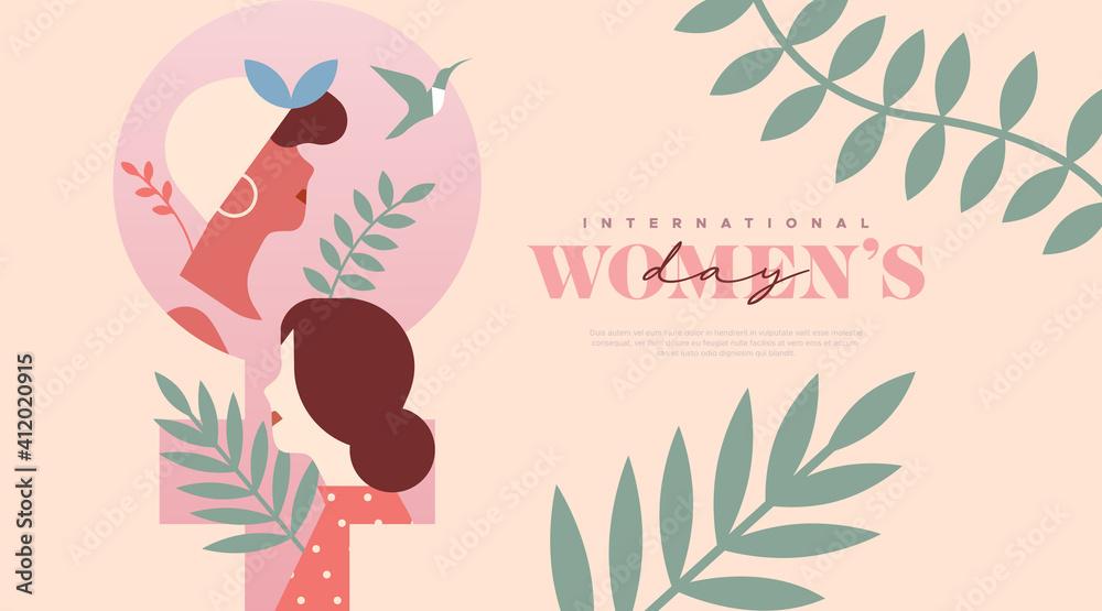 Fototapeta Women's Day pink women tropical leaf template