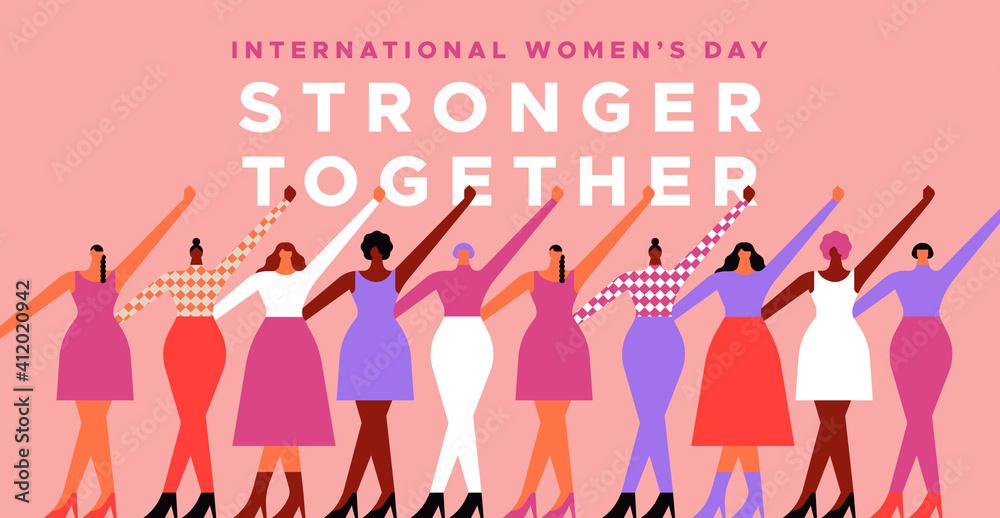 Fototapeta Women's day diverse strong women protest card