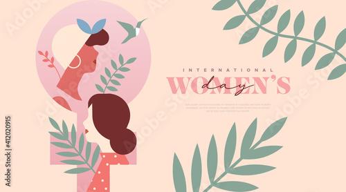 Obraz Women's Day pink women tropical leaf template - fototapety do salonu