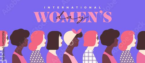 Fototapeta Women's Day pink diverse woman together card obraz