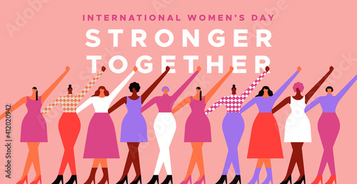 Fototapeta Women's day diverse strong women protest card obraz