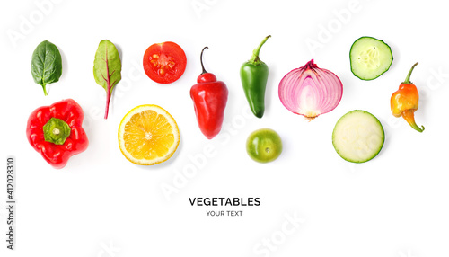 Papel de parede Creative layout made of tomato, onion, pepper, cucumber and zucchini on the white background