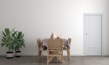 Mock Up Door In Modern Interior Background, Dining Room, Scandinavian Style, 3D Render, 3D Illustration