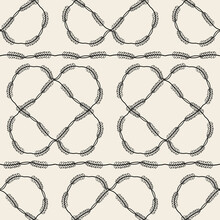 Seamless Fabric Pattern Background With Monochrome Leaves Frame