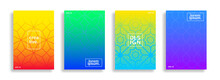 Set Of Cover And Poster Design Template. Abstract Geometric Pattern Gradient Background With Line Texture For Business Banner Design And Other Page Layout Design.