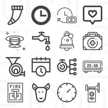 16 Pack Of Alert  Lineal Web Icons Set