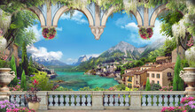 Beautiful View From The Balcony On The Italian Coast. Blue Arches, Pink And White Flowers. Blue Sky. Digital Collage, Mural And Mural. Wallpaper. Poster Design. Modular Panel.  Illustration For Print.
