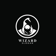 Wizard Esport Logo Concept Old Man Head Face With Hat On The Circle Vector Illustration Design Isolated Background
