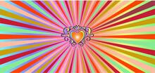 Radial Orange Heart Sunburst Background