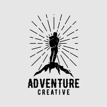 Creative Backpack Adventure Logo Vector Illustration Design Concept A Man Climbs The Mountain Or Walking In The Forest Symbol Travel And Expedition Logo Template