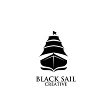 Creative Black Old Sail Ship Monochrome Image Vector Illustration Isolated Background