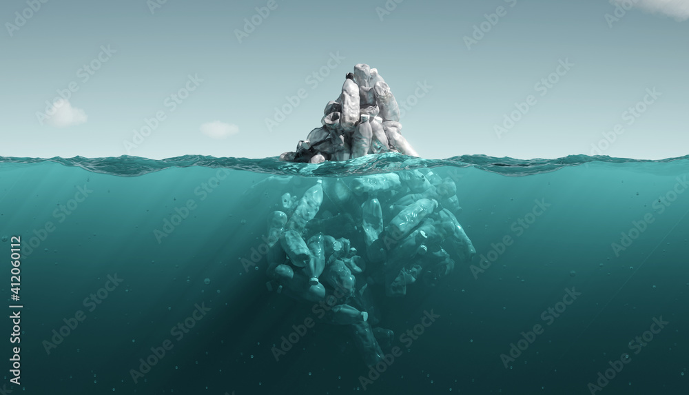 Fototapeta iceberg plastic bottles. pollution in ocean. 3d rendering