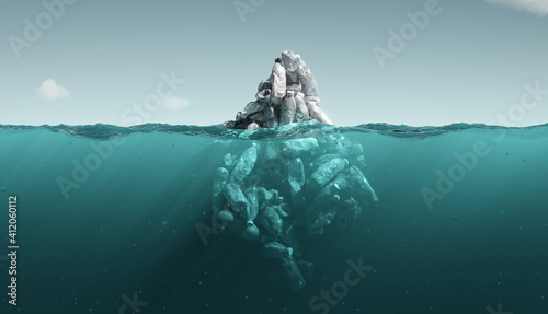 Fotografering iceberg plastic bottles. pollution in ocean. 3d rendering