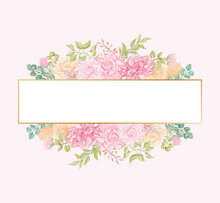 Peony Rose Flowers Wedding Invitation Card Template With Golden Frame