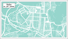 Salta Argentina City Map In Retro Style. Outline Map.