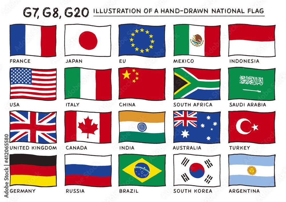 Fototapeta 風にはためくG20,G8,G7の国旗の手描きイラスト